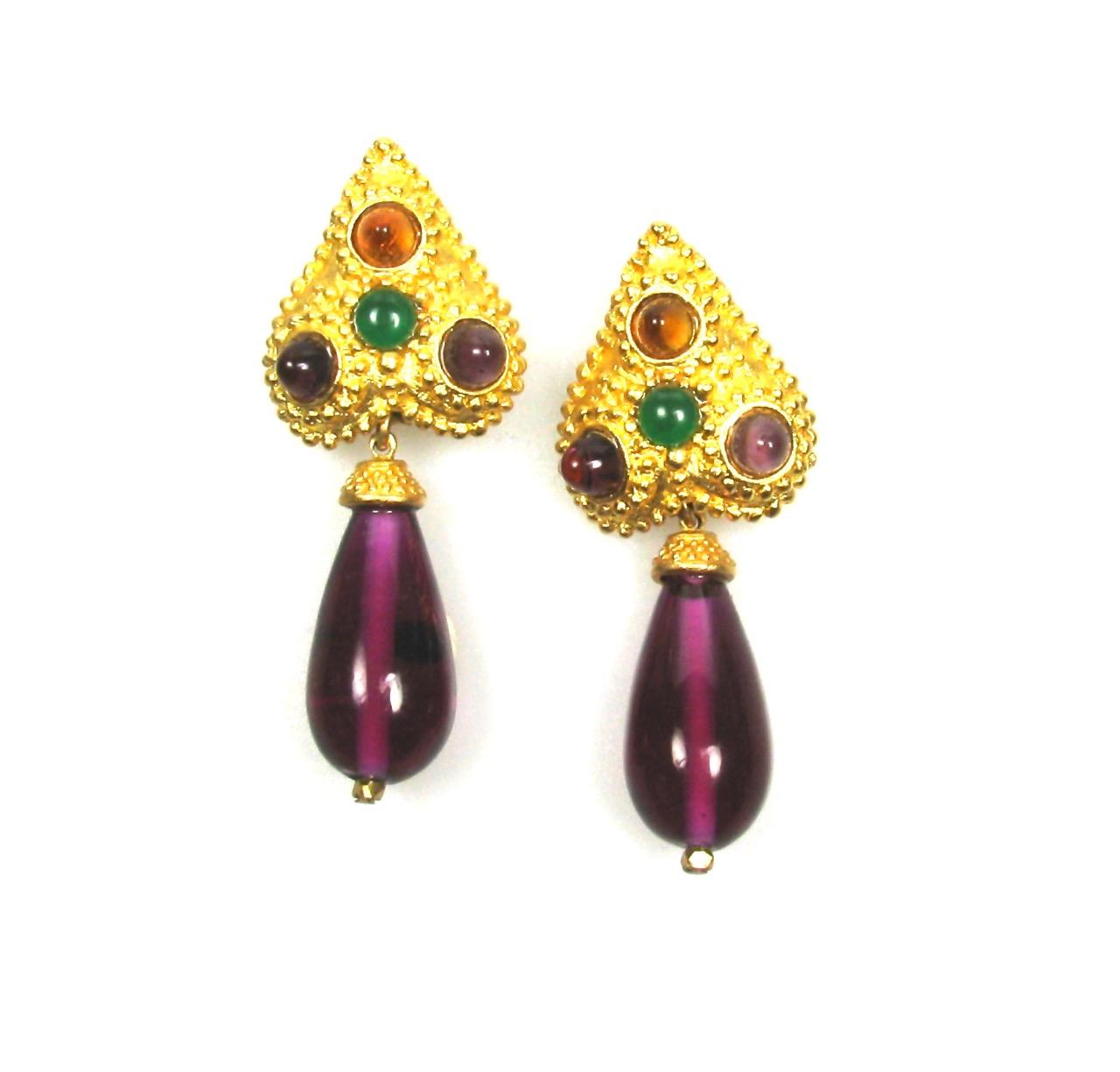 Deanna Hamro Spade Motif Glass Drop Earrings 1980s