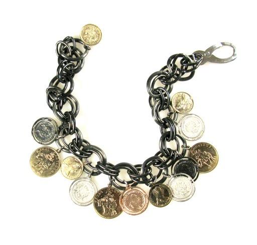 Gunmetal Coin Necklace 1980/90s
