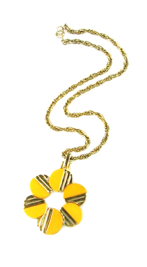 Trifari Bakelite Daisy Pendant Necklace 1960s