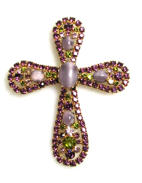 Rhinestone Cross Brooch/Pendant 1950/60s