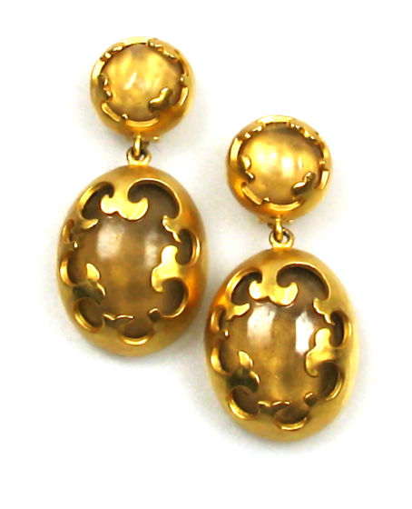 Karl Lagerfeld Gold tone and Lucite Earrings 1980s