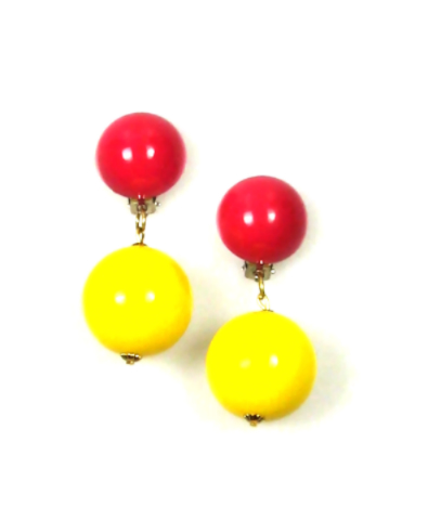 Mod Yellow and Red Ball Drop Earrings