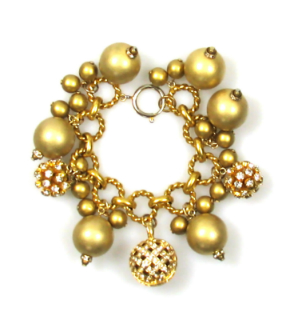 Gold tone Ball and Rhinestone Charm Bracelet 1980s