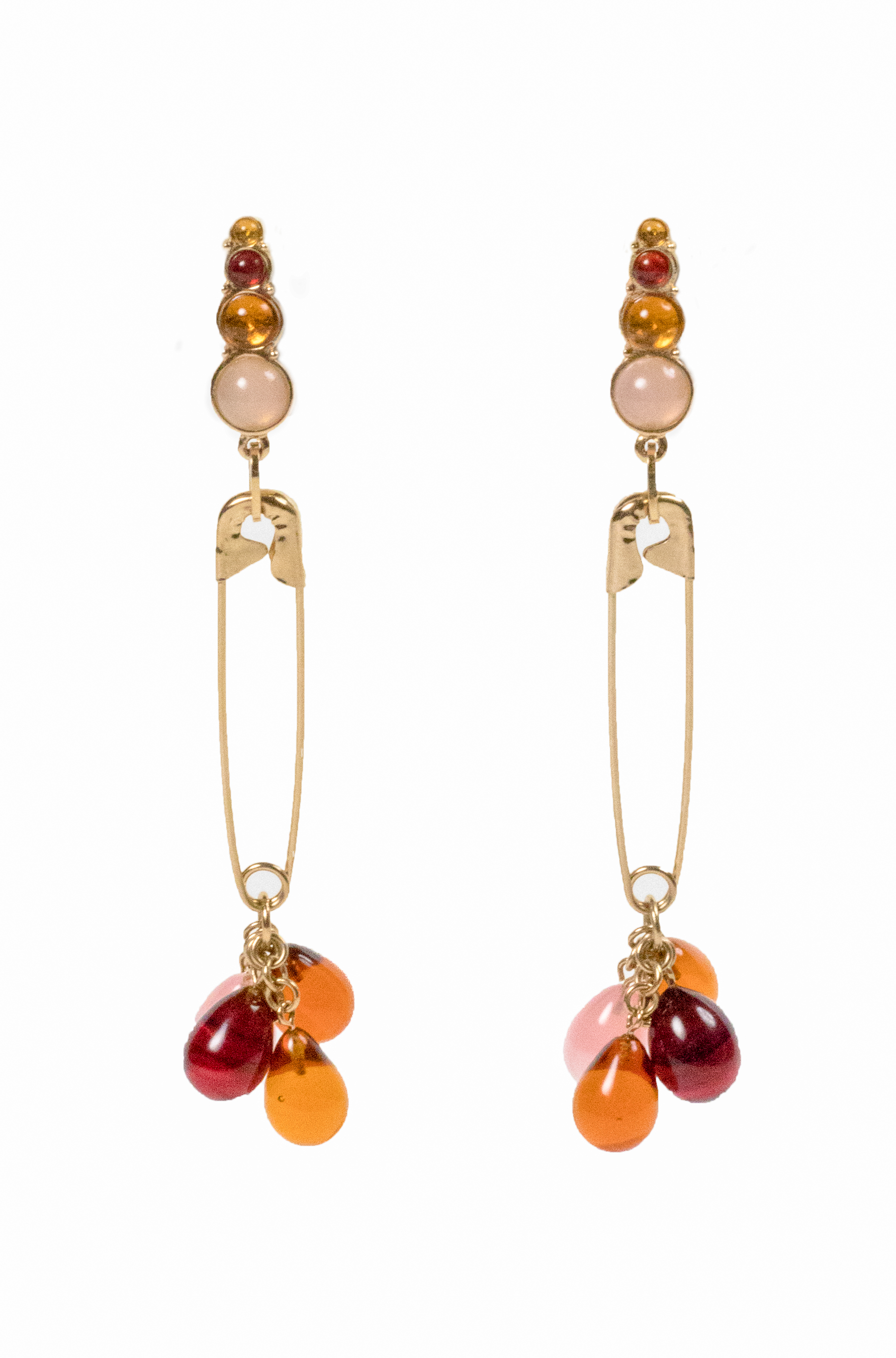 Dior Safety Pin Drop Earrings With Lucite Drops