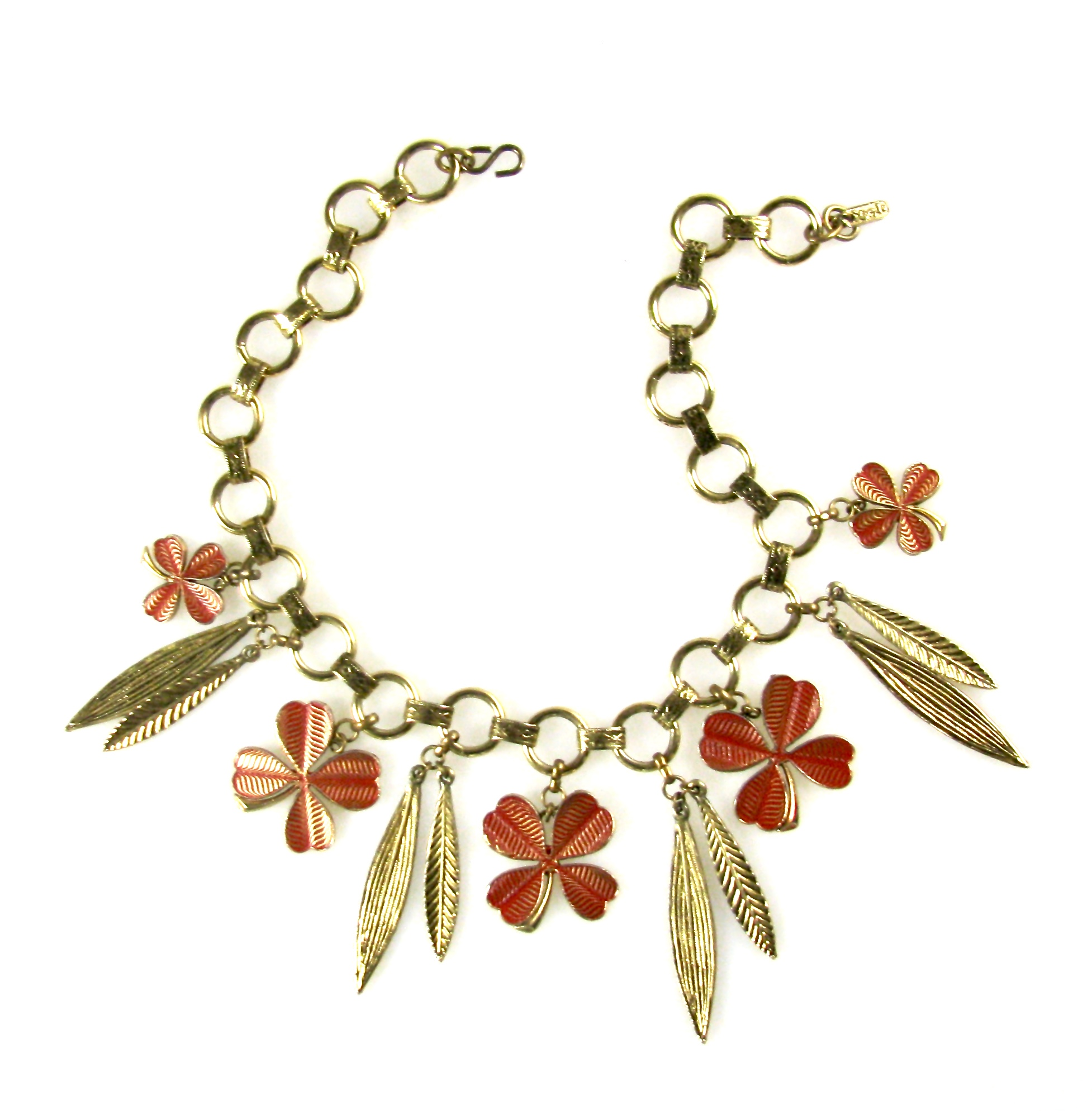 YSL Four Leaf Clover Enamel Bib Necklace 60/70s