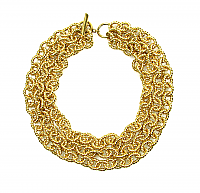Triple strand Golden Rope Link Necklace 1990s