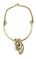 Zebra Pendant Necklace 1970s