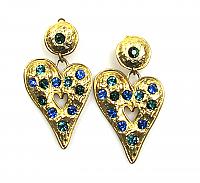 Edouard Rambaud Heart Drop Earrings 1980s