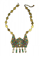 Faux Emerald and Amethyst Pendant Necklace 1960s