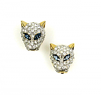 Rhinestone Pav� Panther Earrings 1980s