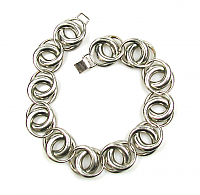 Bartek Modernist Silver Tone Link Necklace 1950s