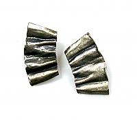 Gunmetal Crinkled Earrings 1990s
