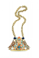 Egyptian Revival Enamel Falcon and Scarab Necklace 1970s