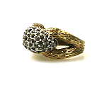 Pavé Rhinestone Cocktail Ring 1970s