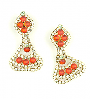 Frosted Orange Rhinestone  Drop Earrings 1960s