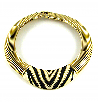 Givenchy Enamel Zebra Necklace 1980s