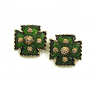 Maltese Cross Lava Rock Earrings 1960s