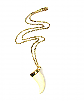 Faux Ivory Tusk Pendant Necklace 1970s