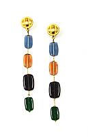 Glass Pebble Shoulder Duster Earrings 1980s