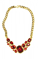 Trifari Ruby Red Cluster Glass Stone Necklace 1980s