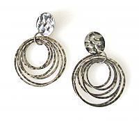 Silver-tone Multi-Hoop Earrings 1980s