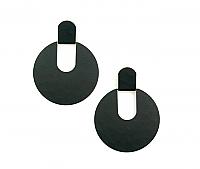 Black Graphic Disc Earrings 1980s